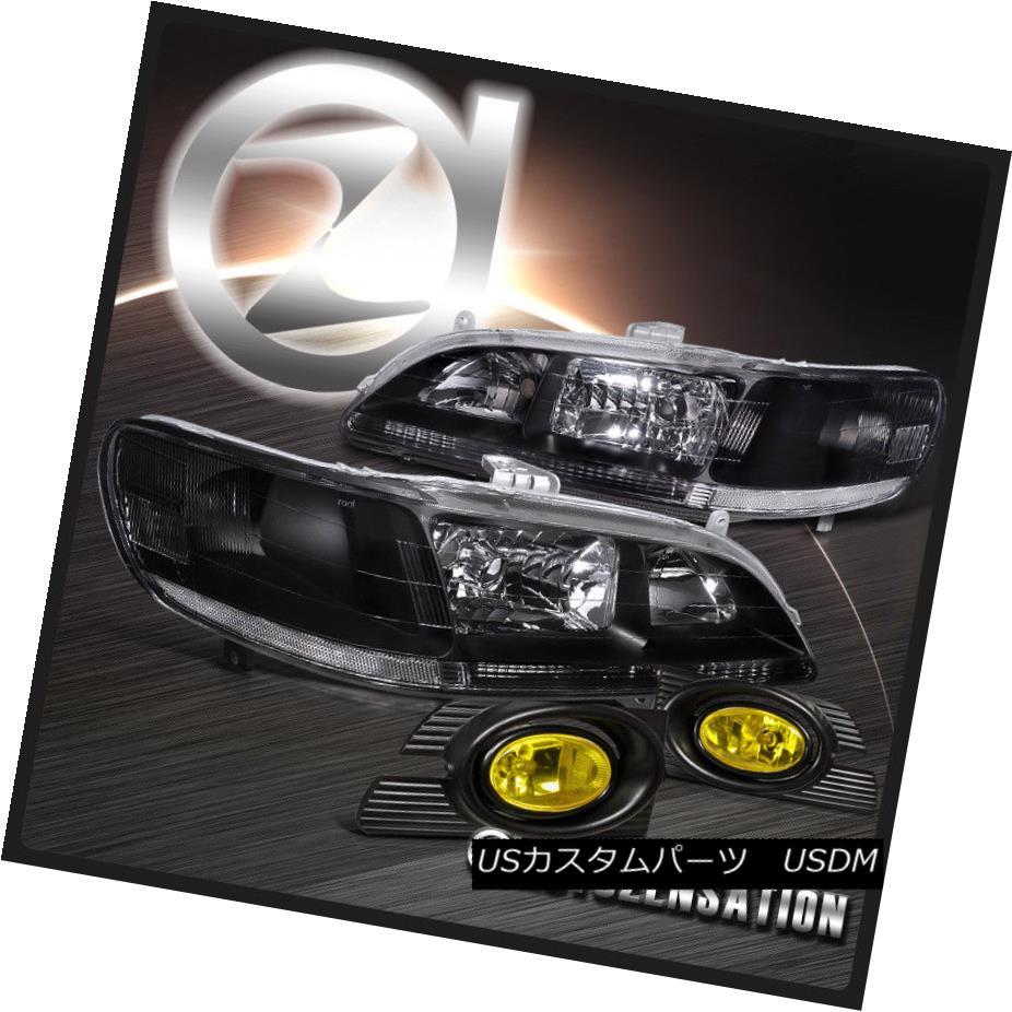 ヘッドライト Fit 01-02 Accord 4Dr Sedan Black Diamond Clear Headlights+Yellow Bumper Fog Lamp フィット01-02アコード4Drセダンブラックダイヤモンドクリアヘッドライト+イエロー 低バンパーフォグランプ