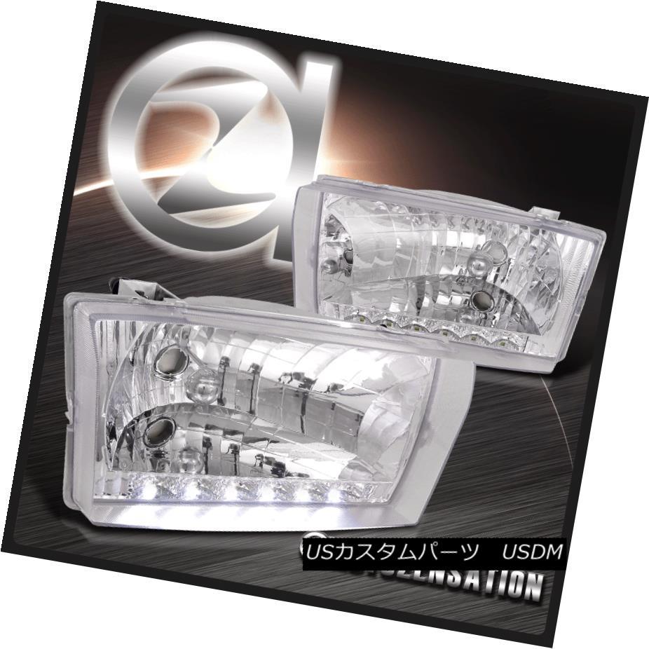 ヘッドライト 99-04 F250/350/450/550 00-04 Excursion Crystal Chrome SMD DRL Headlights Pair 99-04 F250 / 350/450/5  50 00-04エクスカーションクリスタルクロムSMD DRLヘッドライトペア