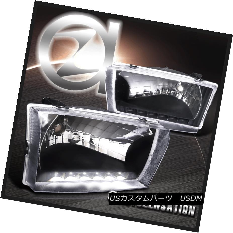 ヘッドライト 99-04 F250/350/450/550 00-04 Excursion Crystal Black SMD DRL Headlights Pair 99-04 F250 / 350/450/5  50 00-04エクスカーションクリスタルブラックSMD DRLヘッドライトペア