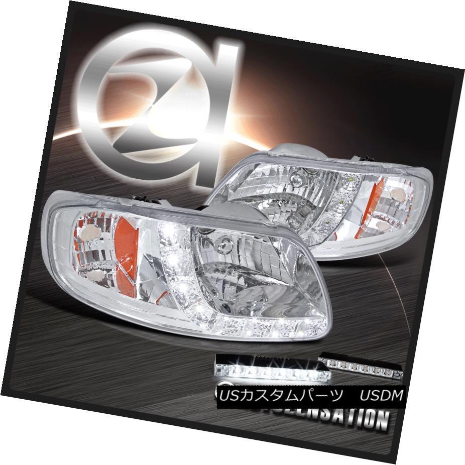 ヘッドライト 97-02 F150 Expedition Chrome SMD LED DRL Headlights+6-LED Bumper Fog Lamps 97-02 F150遠征クロームSMD LED DRLヘッドライト+ 6-L  EDバンパーフォグランプ