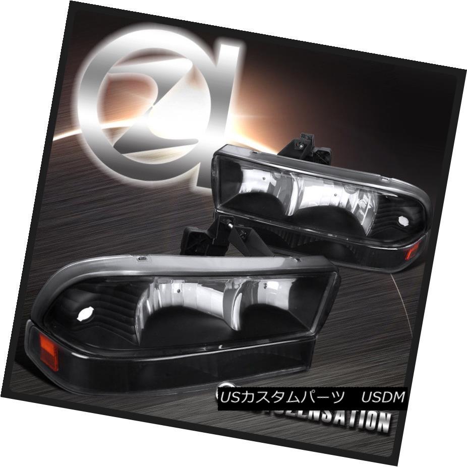 ヘッドライト 1998-2004 Chevy S10 Blazer Pickup Black Clear Headlights+Front Bumper Lights 4PC 1998-2004シボレーS10ブレザーピックアップブラッククリアヘッドライト+  ntバンパーライト4PC