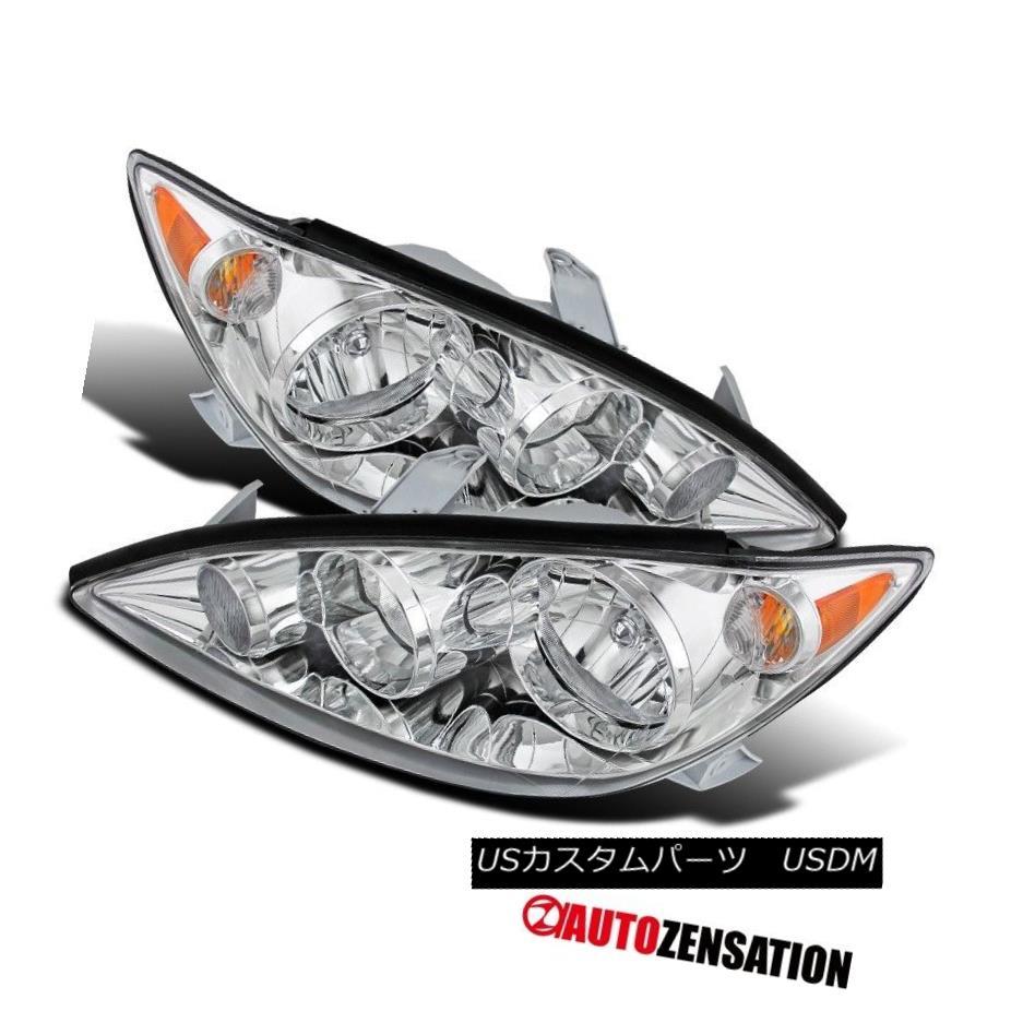 ヘッドライト For 05-06 Toyota Camry LE XLE 4Dr Sedan Crystal Chrome Clear Headlights Pair 05-06用トヨタカムリLE XLE 4Drセダンクリスタルクロームクリアヘッドライトペア