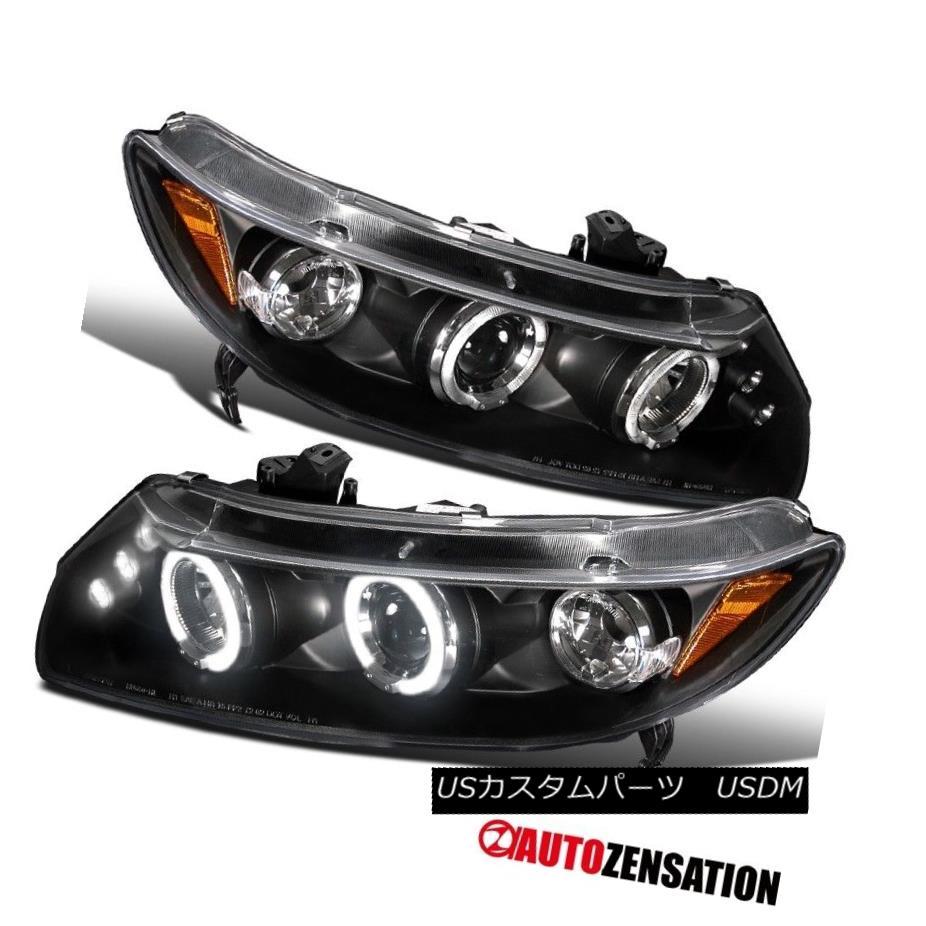 ヘッドライト Fit 06-11 Honda Civic 2Dr Coupe Black LED DRL Halo Projector Headlights フィット06-11ホンダシビック2DrクーペブラックLED DRLハロープロジェクターヘッドライト