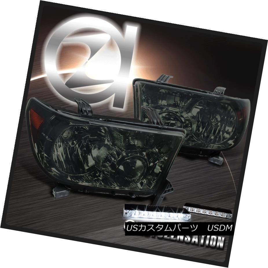 ヘッドライト For 07-13 Toyota Tundra 08-14 Sequoia Smoke Headlights+6-LED DRL Fog Lamps 07-13トヨタトンドラ08-14セコイア煙ヘッドライト+ 6-L  ED DRLフォグランプ