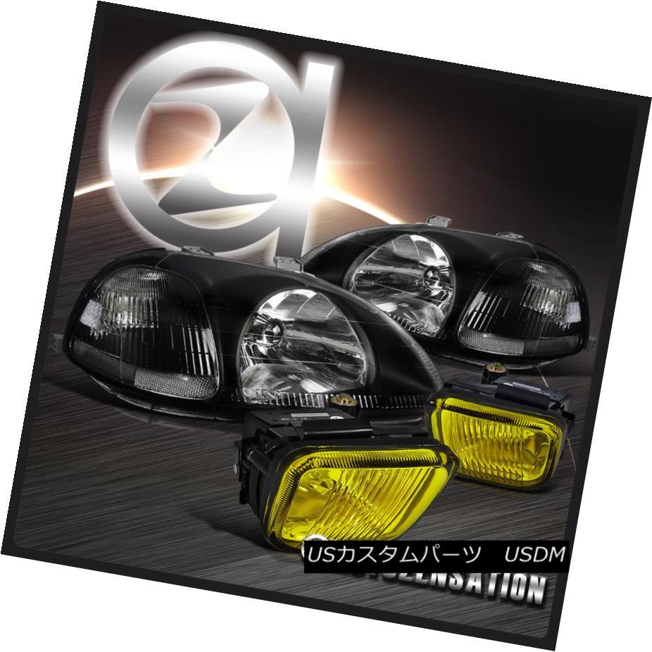 ヘッドライト Fit Honda 96-98 Civic JDM Crystal Black Headlights+Yellow Driving Fog Lamps フィットホンダ96-98シビックJDMクリスタルブラックヘッドライト+イエロー 低駆動フォグランプ