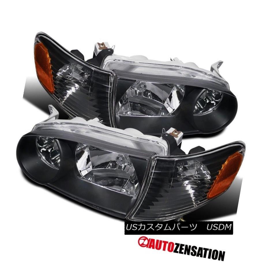 ヘッドライト For 01-02 Toyota Corolla JDM Black Headlights Corner Signal Lamp Amber Reflector 01-02用トヨタカローラJDMブラックヘッドライトコーナーランプアンバーリフレクター