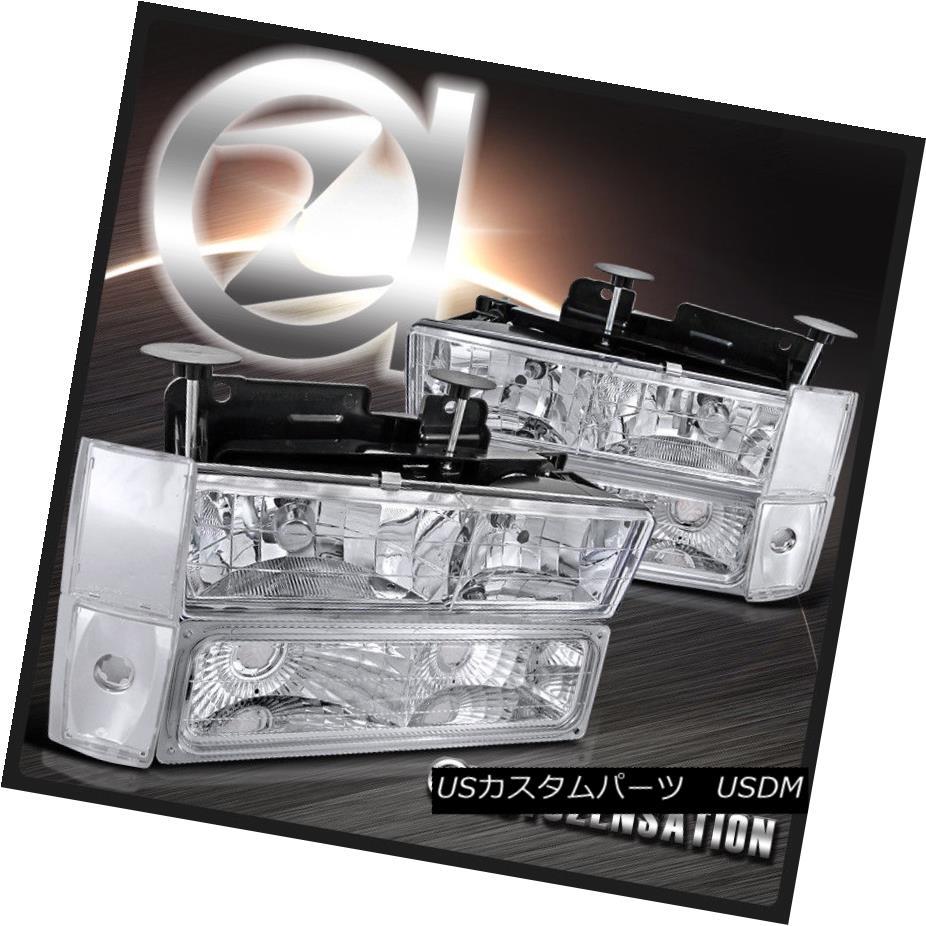 ヘッドライト 88-93 Chevy GMC C10 Silverado Chrome Headlight+Bulbs+Corner Bumper Lamp 88-93シボレーGMC C10シルバラードクロームヘッドライト+電球 s +コーナーバンパーランプ