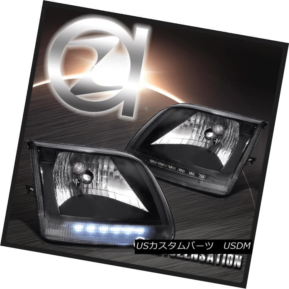 ヘッドライト Ford 97-02 Expedition 97-03 F-150 Diamond Black LED DRL Headlights フォード97-02遠征97-03 F-150ダイヤモンドブラックLED DRLヘッドライト