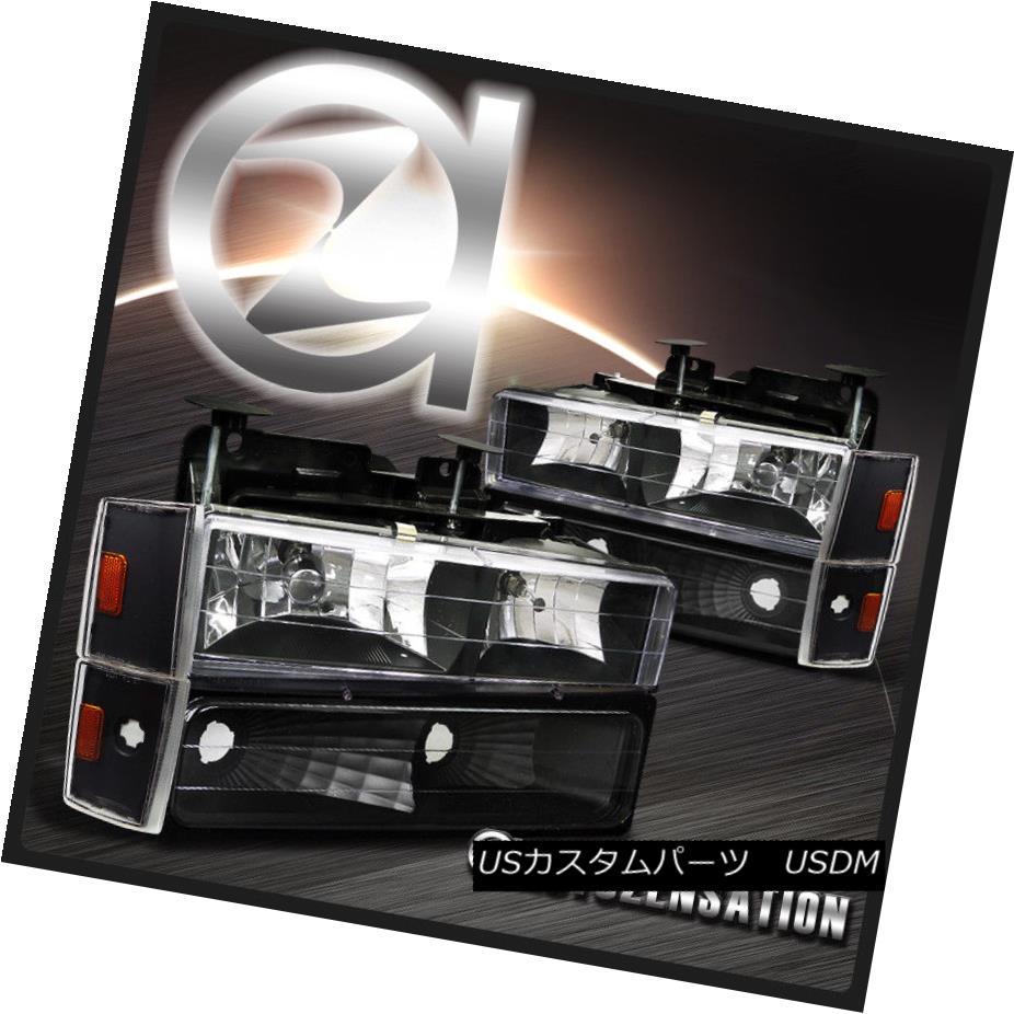 ヘッドライト 88-93 Chevy/GMC C10 C/K Blazer Sierra Black Headlights+Bumper Corner Lamps 88-93シェービー/ GMC C10 C / Kブレイザーシエラブラックヘッドライト+ブーン 1コーナーランプ