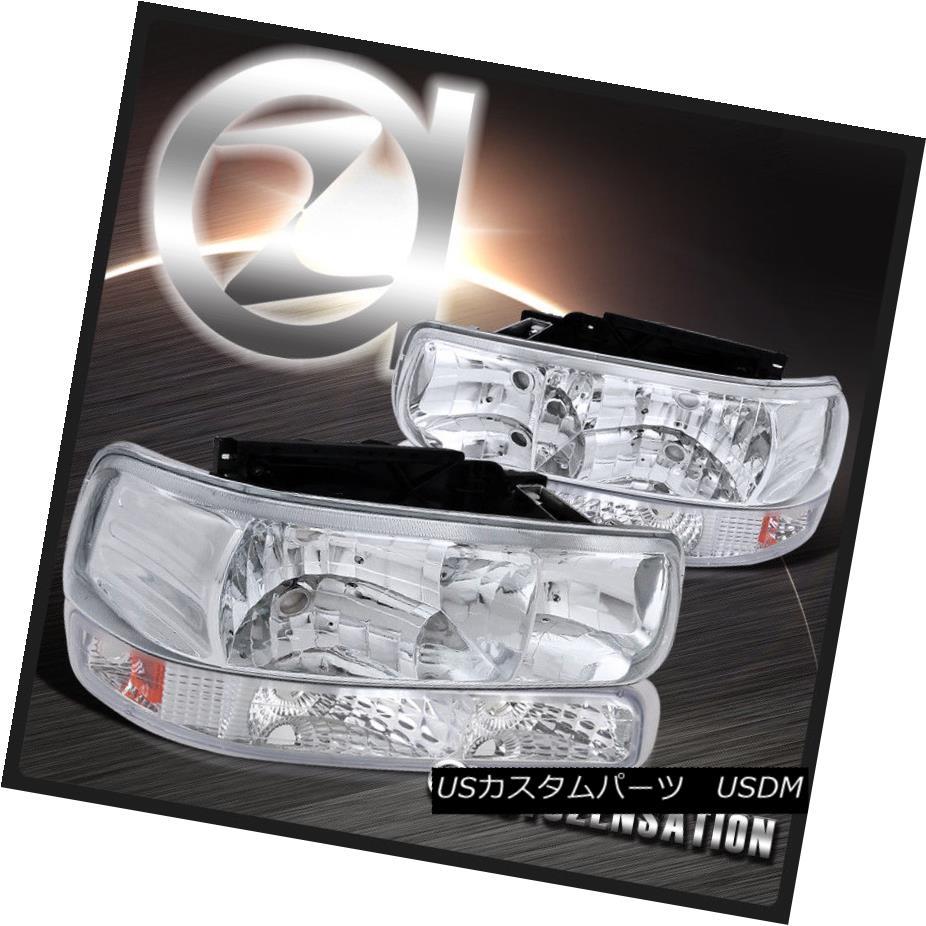 ヘッドライト Chrome 99-02 Silverado 00-06 Tahoe Suburban Crystal Headlight+Clear Bumper Lamp Chrome 99-02 Silverado 00-06タホ郊外クリスタルヘッドライト+クリーア rバンパーランプ