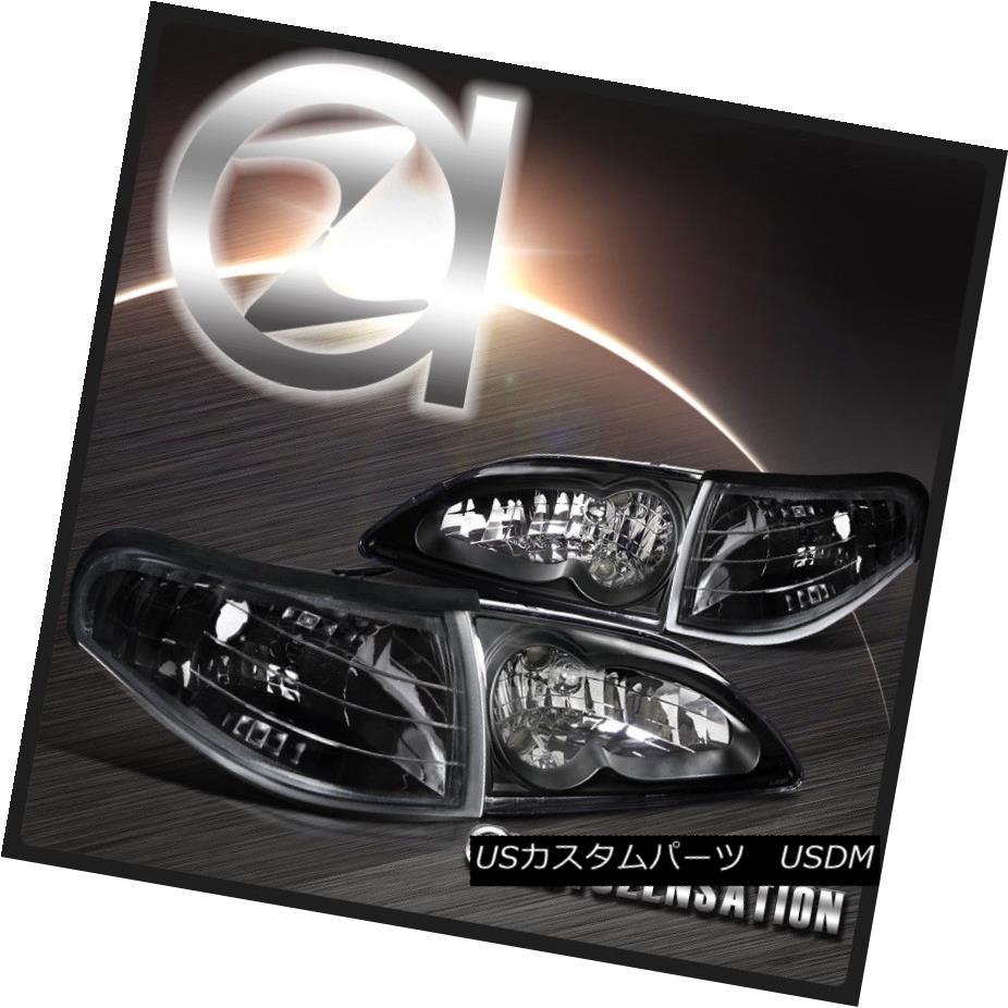 ヘッドライト 94-98 Ford Mustang Euro Black Crystal Headlights+Clear Corner Signal Lamps 94-98 Ford Mustangユーロブラッククリスタルヘッドライト+ Cle  arコーナー信号ランプ