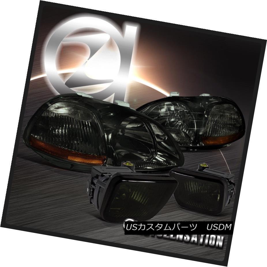 ヘッドライト Fit 96-98 Honda Civic Crystal Smoke Headlights+Tint Bumper Fog Lamps w/ Switch フィット96-98ホンダシビッククリスタルスモークヘッドライト+スズ tスイッチ付バンパーフォグランプ