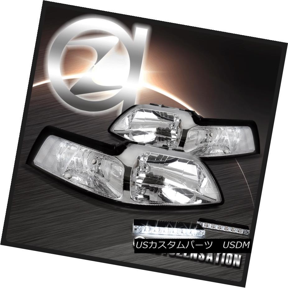 ヘッドライト 99-04 Ford Mustang Crystal Chrome Headlights Clear Reflector+6-LED DRL Fog Lamps 99-04 Ford Mustangクリスタルクロームヘッドライトクリアリフレクター+ 6-LE D DRLフォグランプ
