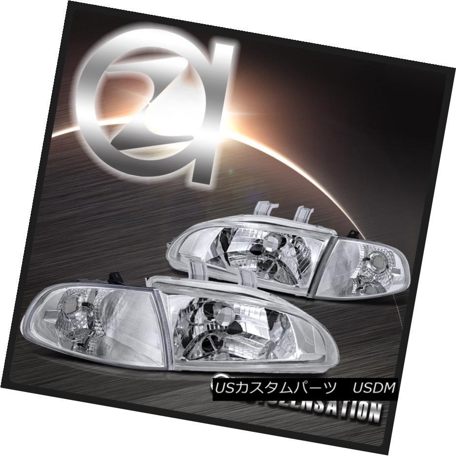 ヘッドライト For 92-95 Honda Civic 2/3dr Clear Headlights & Chrome Corner Lights 92-95ホンダシビック2 / 3drクリアヘッドライト& クロムコーナーライト