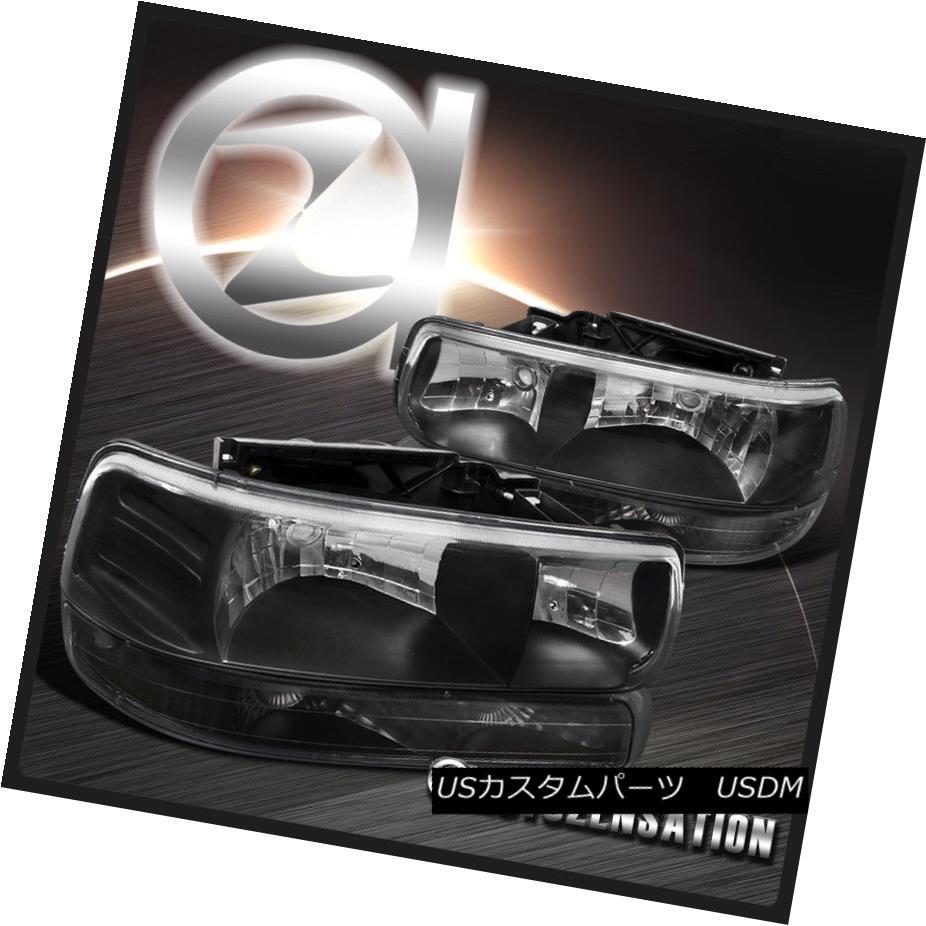 ヘッドライト [4PC] 99-02 Silverado/00-06 Tahoe Suburban Black Headlights & Bumper Lights [4PC] 99-02 Silverado / 00-0 6タホ郊外のブラックヘッドライト& バンパーライト