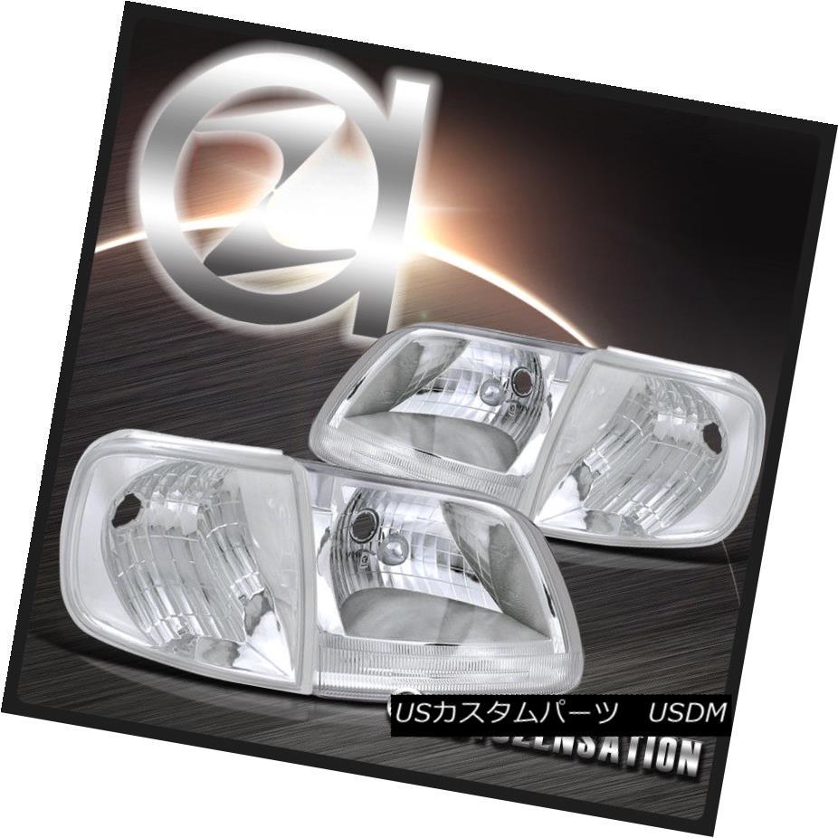 ヘッドライト 97-03 Ford F150 Expedition Chrome Crystal Headlights+Corner Signal Lights 97-03 Ford F150遠征クロムクリスタルヘッドライト+ Cor  ner Signal Lights