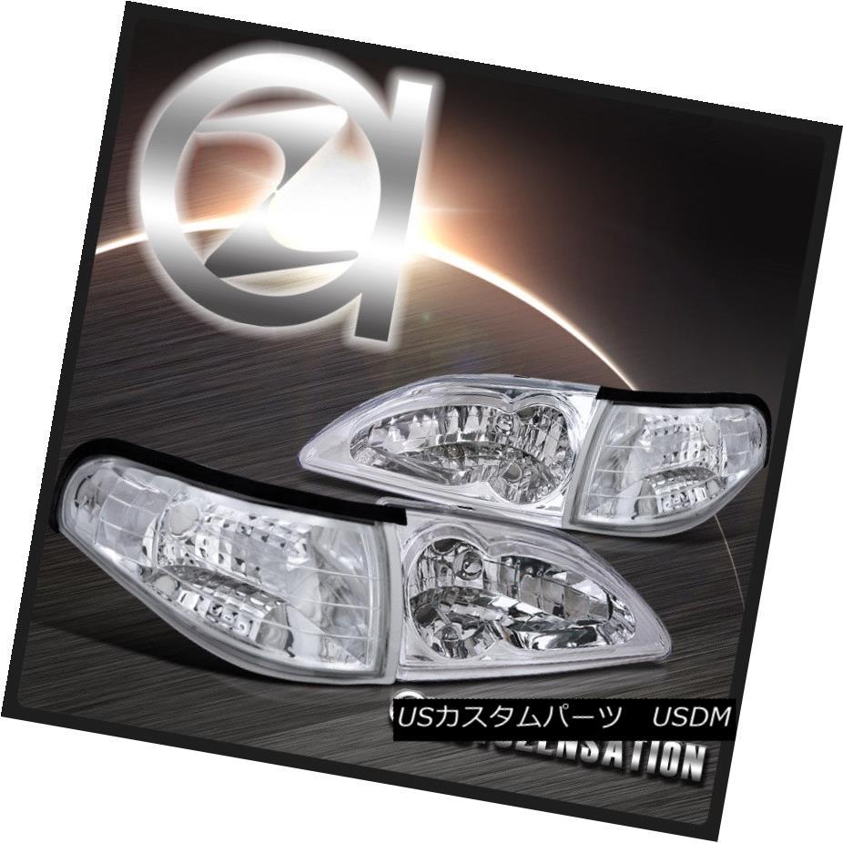 ヘッドライト 94-98 Ford Mustang Euro Chrome Crystal Headlights+Clear Corner Signal Lamps 94-98フォードマスタングユーロクロームクリスタルヘッドライト+ Cle  arコーナー信号ランプ