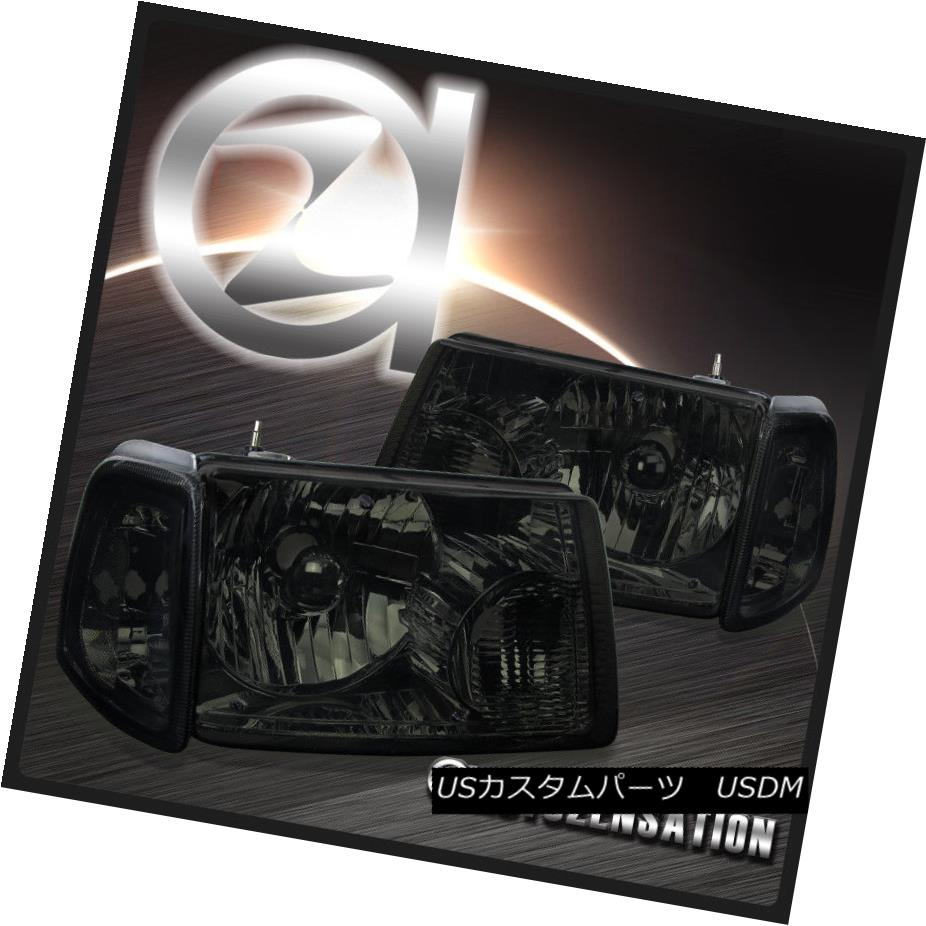 ヘッドライト 01-11 Ford Ranger Pickup Crystal Smoke Headlights+Tinted Corner Signal Lamps 01-11フォードレンジャーピックアップクリスタルスモークヘッドライト+ティン テールコーナー信号ランプ