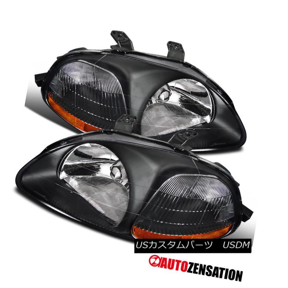 ヘッドライト Fits 1996-1998 Honda Civic Black Clear Headlights Head Lamps w/ Amber Reflector 1996-1998ホンダシビックブラッククリアヘッドライトヘッドランプ(アンバーリフレクター付)
