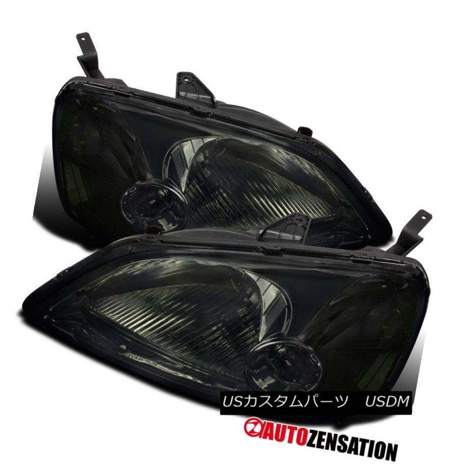 ヘッドライト For 01-03 Honda Civic 2Dr 4Dr Smoke Tinted Headlights Clear Reflector 01-03ホンダシビック2Dr 4Dr用煙がかかったヘッドライトクリアリフレクター