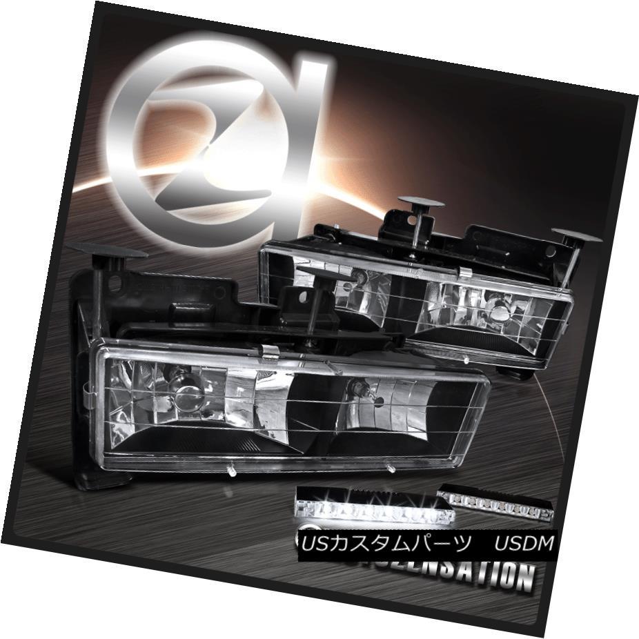 ヘッドライト 88-98 Chvey C/K Silverado GMC Sierra Black Headlights+LED Bumper DRL Fog Lamp 88-98シボレーC / KシルバラードGMCシエラブラックヘッドライト+ LEDバンパーDRLフォグランプ