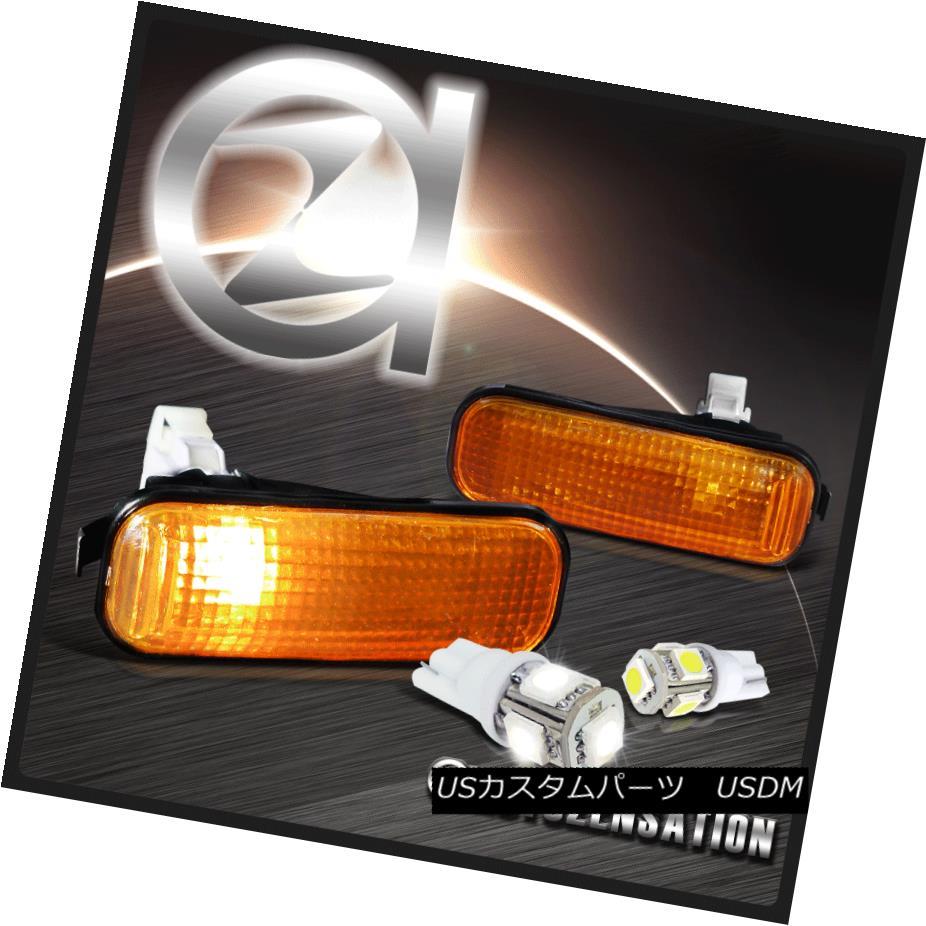 ヘッドライト Fit 96-00 Honda Civic Smoke Amber Side Marker Lights+Hyper White 5-SMD LED Bulbs 適合96-00ホンダシビック煙琥珀サイドマーカーライト+ハイパーホワイト5-SMD LED電球