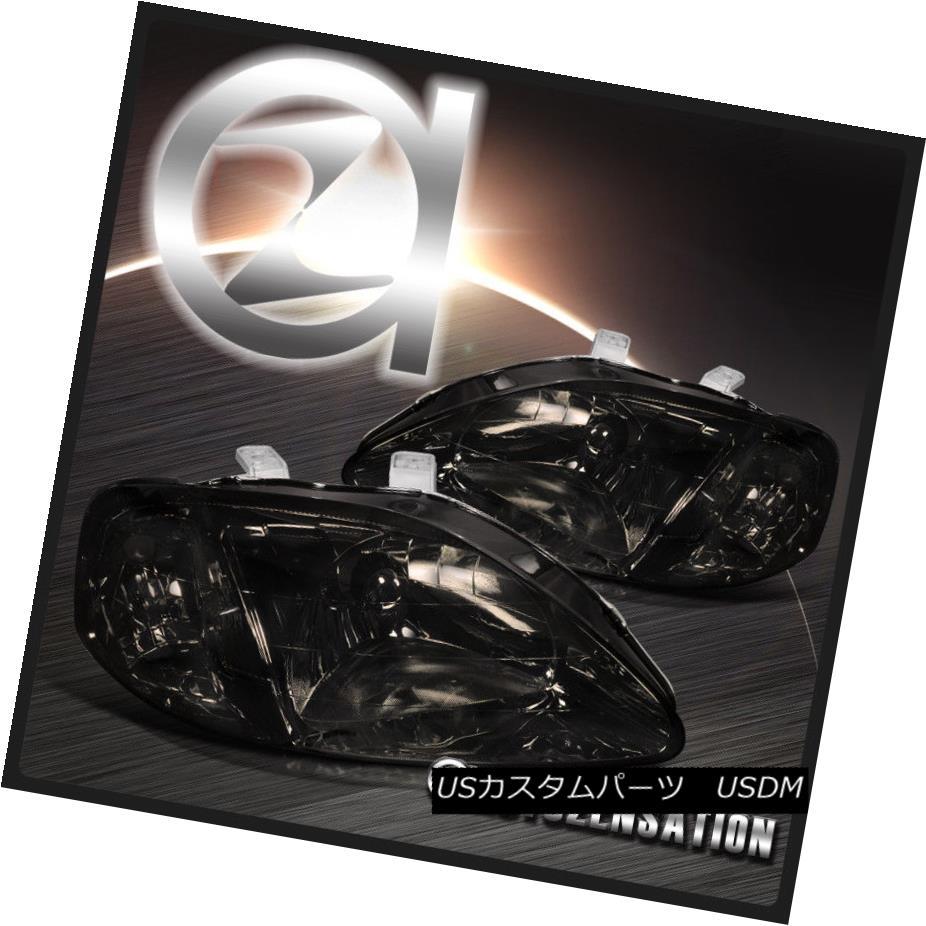 ヘッドライト Fit 99-00 Honda Civic Smoke Crystal Headlights Clear Reflector フィット99-00ホンダシビックスモーククリスタルヘッドライトクリアリフレクター
