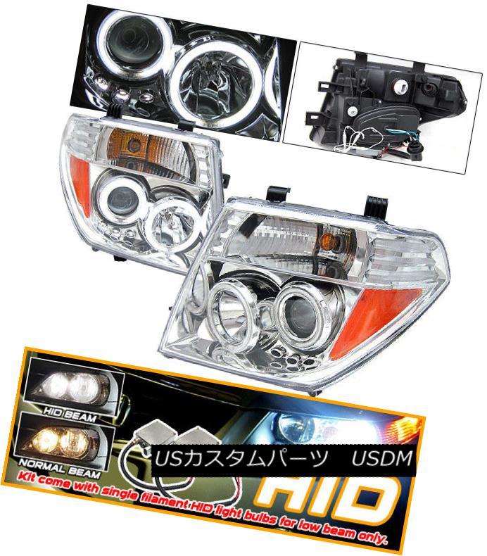 ヘッドライト Fits For 05-08 Nissan Frontier CCFL Halo Projector Headlights Xenon 05-08に適合日産フロンティアCCFLハロープロジェクターヘッドライトキセノン
