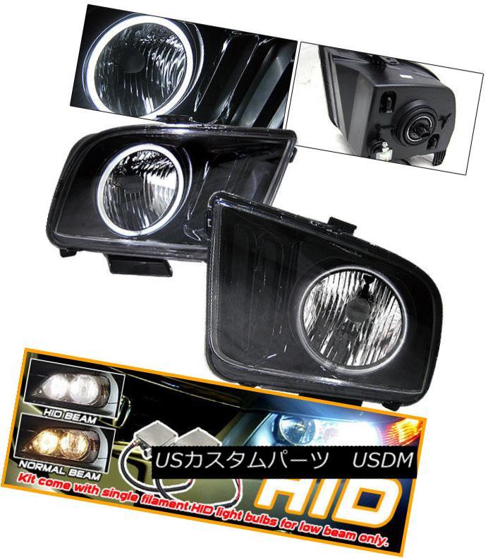 ヘッドライト Fits 05-08 Ford Mustang Black CCFL Halo Headlights + Xenon HID 適合05-08フォードマスタングブラックCCFLハローヘッドライト+キセノンHID