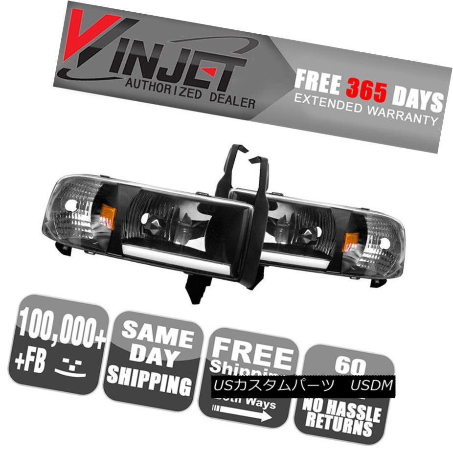 ヘッドライト Fits 94-02 Dodge Ram 1500 2500 3500 4000 LED Bar Headlights Black Clear Lamps フィット94-02ダッジラム1500 2500 3500 4000 LEDバーヘッドライトブラッククリアランプ