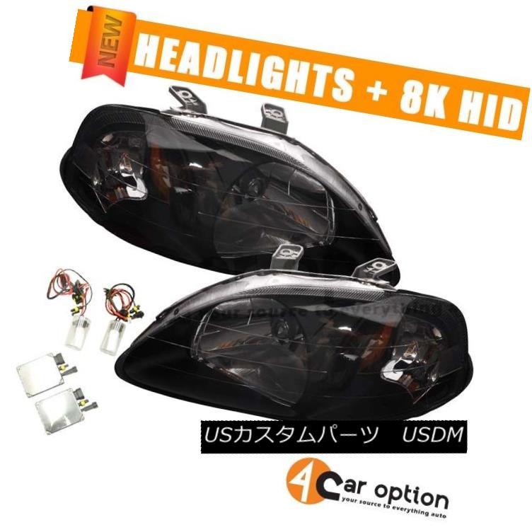 ヘッドライト Fits 99-00 Honda Civic JDM Headlights Head Lamps Black +Xenon HID 8000K In Pair フィット99-00ホンダシビックJDMヘッドライトヘッドランプブラック+キセノンHID 8000Kペア