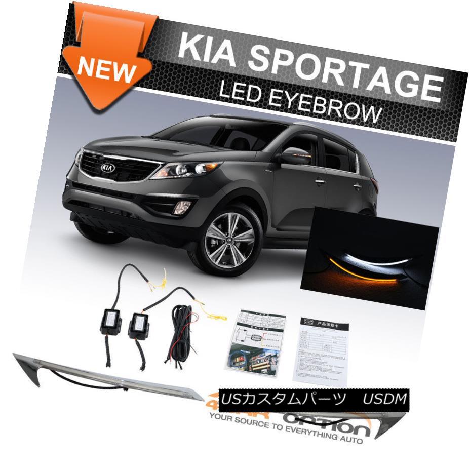 ヘッドライト Fits 11-16 Kia Sportage LED Eyebrow DRL Headlight Turn Signal フィット11-16起亜Sportage LED眉毛DRLヘッドライトのターンシグナル