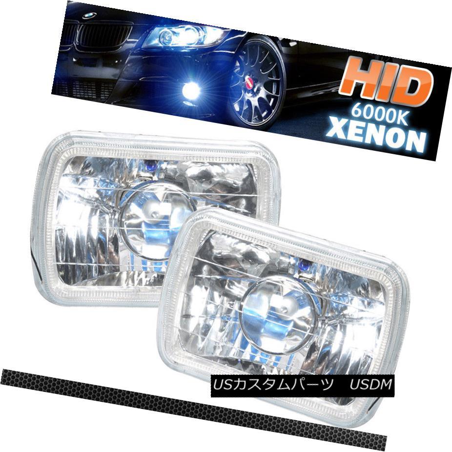 ヘッドライト Fits Halo Projector Headlights 7X6 + H4 6000K Bi-Xenon Haloプロジェクターヘッドライトにフィット7X6 + H4 6000K Bi-Xenon