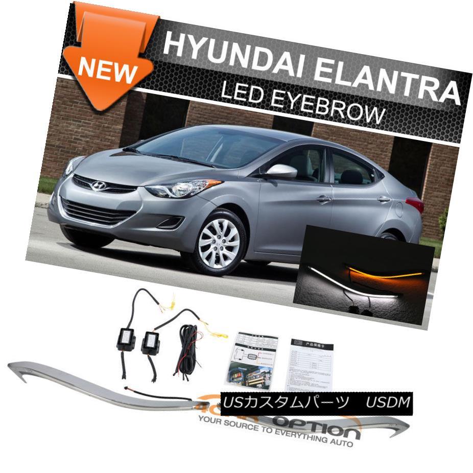 ヘッドライト Fits 09-13 Hyundai Elantra LED Eyebrow DRL Headlight Turn Signal Hyundai Elantra LED Eyebrow DRLヘッドライトターンシグナル09-13適合