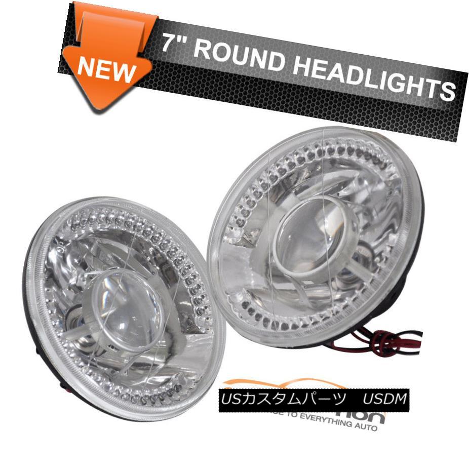 ヘッドライト Fits Volkswagen Beetle 7 Inch Clear Round LED Projector Headlights Head Lamps H4 フォルクスワーゲンビートルにフィット7インチクリアラウンドLEDプロジェクターヘッドライトヘッドランプH4