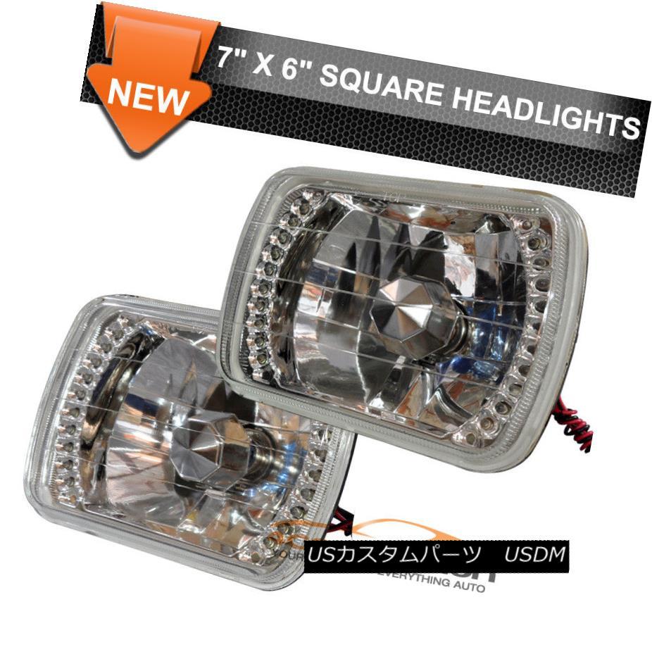 ヘッドライト 7X6 LED Square Headlights Head Lamps Clear Diamond WithH4 Bulbs Pair For Dodge 7X6 LEDスクエアヘッドライトヘッドランプクリアダイヤモンドWithH4バルブペアドッジ用