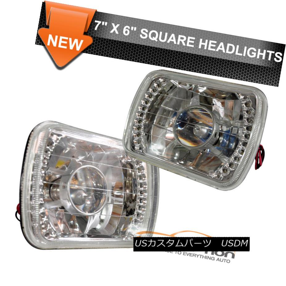 ヘッドライト Fits 7X6 Inch H4 Bulbs Crystal Clear LED Projector Headlights Headlamps Pair フィット7×6インチH4バルブクリスタルクリアLEDプロジェクターヘッドライトヘッドランプペア