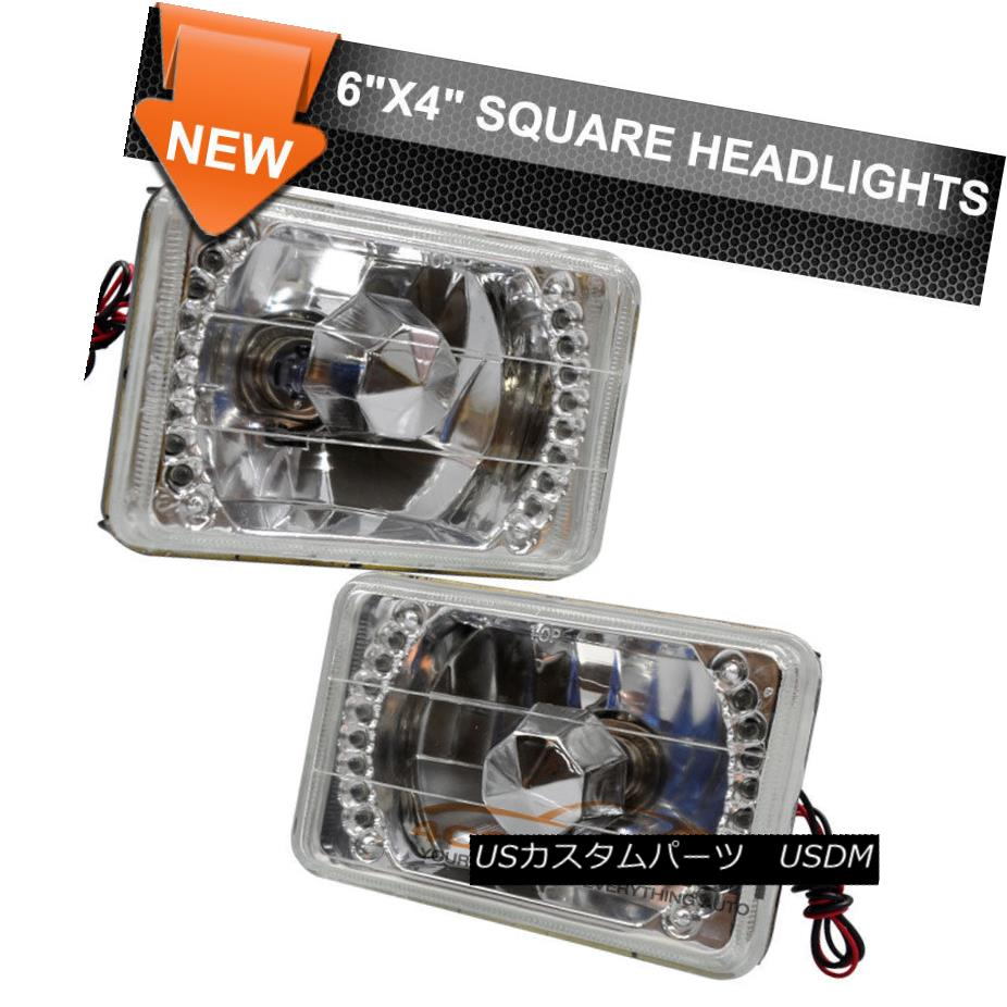 ヘッドライト Fit Ford Dodge 4X6 Clear Sealed Beam LED Headlights Headlamps Pair H4 Conversion フィットフォードドッジ4X6クリアシールライドLEDヘッドライトヘッドランプペアH4変換