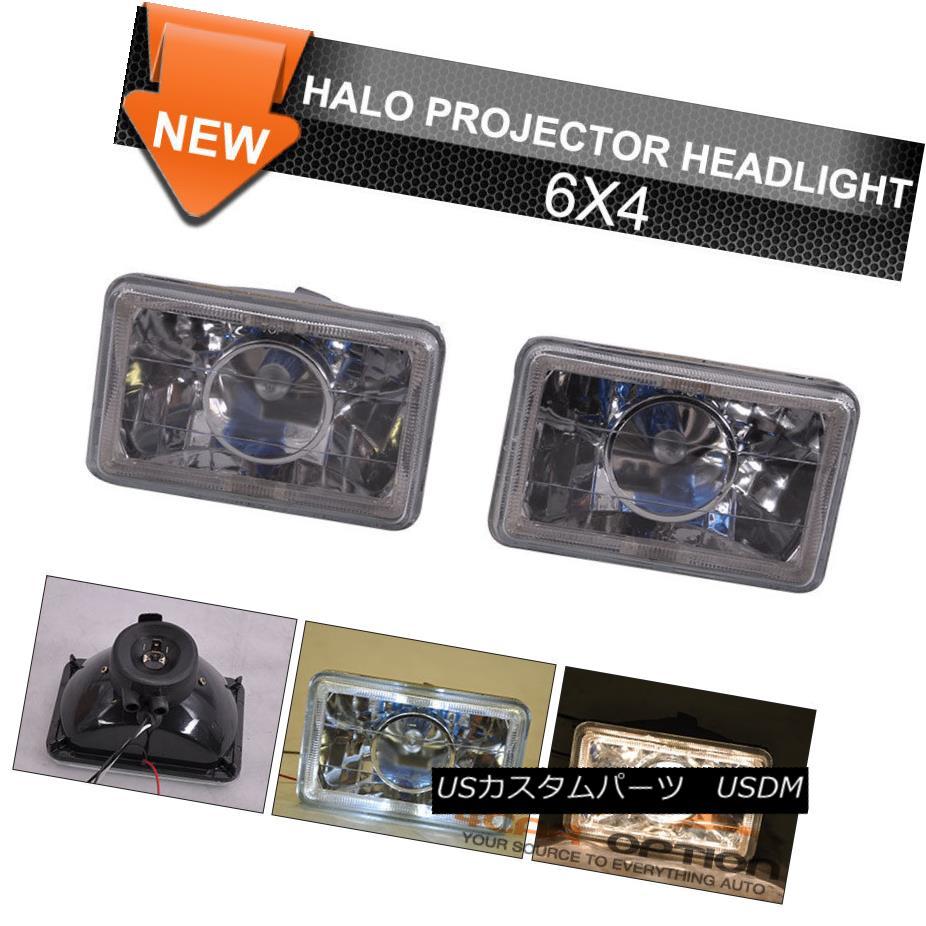 ヘッドライト Seal White Halo Projector Headlight 6X4 Inch H4 H6014 H6052 H6054 Black Housing シールハロープロジェクターヘッドライト6×4インチH4 H6014 H6052 H6054ブラックハウジング