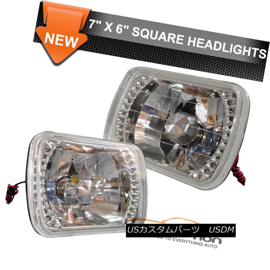"7/"" Black Projector Crystal Clear Glass Halogen Headlight Lamp H4 Light Bulb Each"