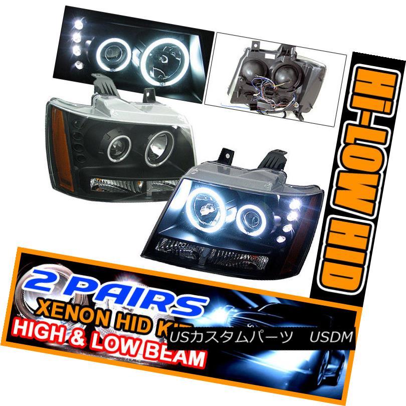ヘッドライト Fits 2 Sets HID 07 + Suburban Tahoe Halo Projector Headlight HID 07 +郊外のタホハロープロジェクターヘッドライト2セットに適合