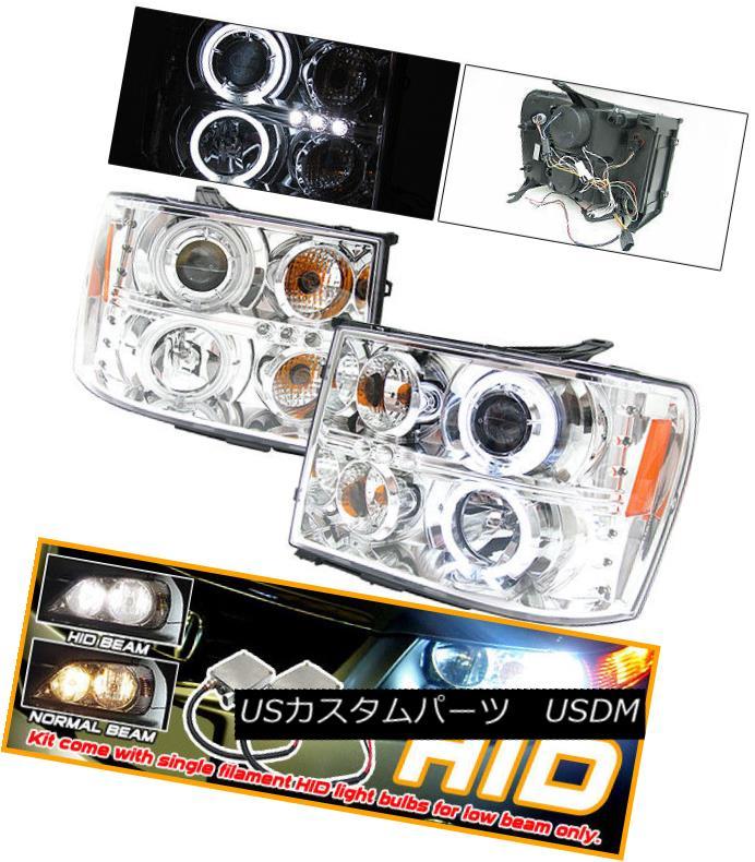 ヘッドライト Fits Xenon 07-08 GMC Sierra CCFL Projector Headlights HID Ch フィットキセノン07-08 GMCシエラCCFLプロジェクターヘッドライトHID Ch