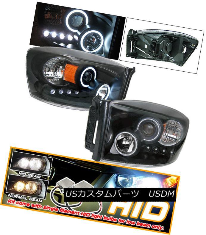 ヘッドライト Fits 06-08 Dodge Ram CCFL Halo Projector Headlight Xenon HID フィット06-08ダッジラムCCFLハロープロジェクターヘッドライトキセノンHID