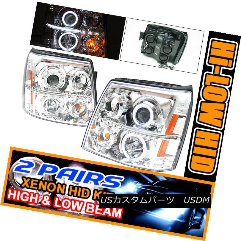 ヘッドライト Fits 2 Sets HID 02-06 Escalade Halo Projector Headlights Esv フィット2セットHID 02-06 Escalade HaloプロジェクターヘッドライトEsv