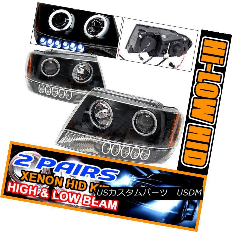 Set 2 Headlight Black 99-04チェロキーハロープロジェクターヘッドライトブラック 99-04 HID ヘッドライト Halo Cherokee Projector フィット2セットHID Fits