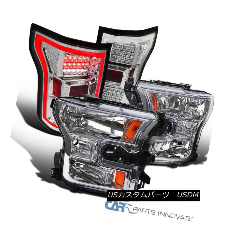 ヘッドライト 15-17 Ford F150 Pickup Clear Headlights+LED Tail Lights Brake Lamps Replacement 15-17 Ford F150ピックアップクリアヘッドライト+ LEDテールライトブレーキランプ交換