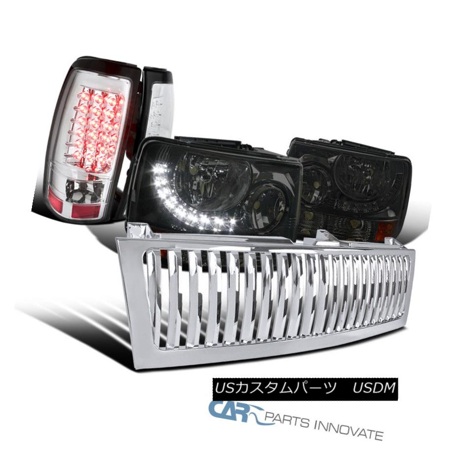 ヘッドライト 99-02 Silverado 2in1 Smoke Headlights+Bumper+LED DRL+Grille+Clear LED Tail Lamps 99-02 Silverado 2in1スモークヘッドライト+バーン + LED DRL + Grille + Cle  ar LEDテールランプ