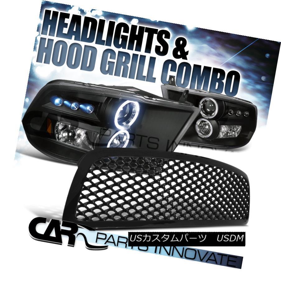 ヘッドライト 09-12 Dodge Ram 1500 Black Halo LED Projector Headlights ABS Mesh Grille 09-12ダッジラム1500ブラックハローLEDプロジェクターヘッドライト ABSメッシュグリル
