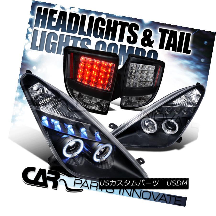 ヘッドライト Fit 00-05 Toyota Celica Black Halo LED Projector Headlights+LED Tail Brake Lamps フィット00-05トヨタセリカブラックハローLEDプロジェクターヘッドライト+ LEDテールブレーキランプ