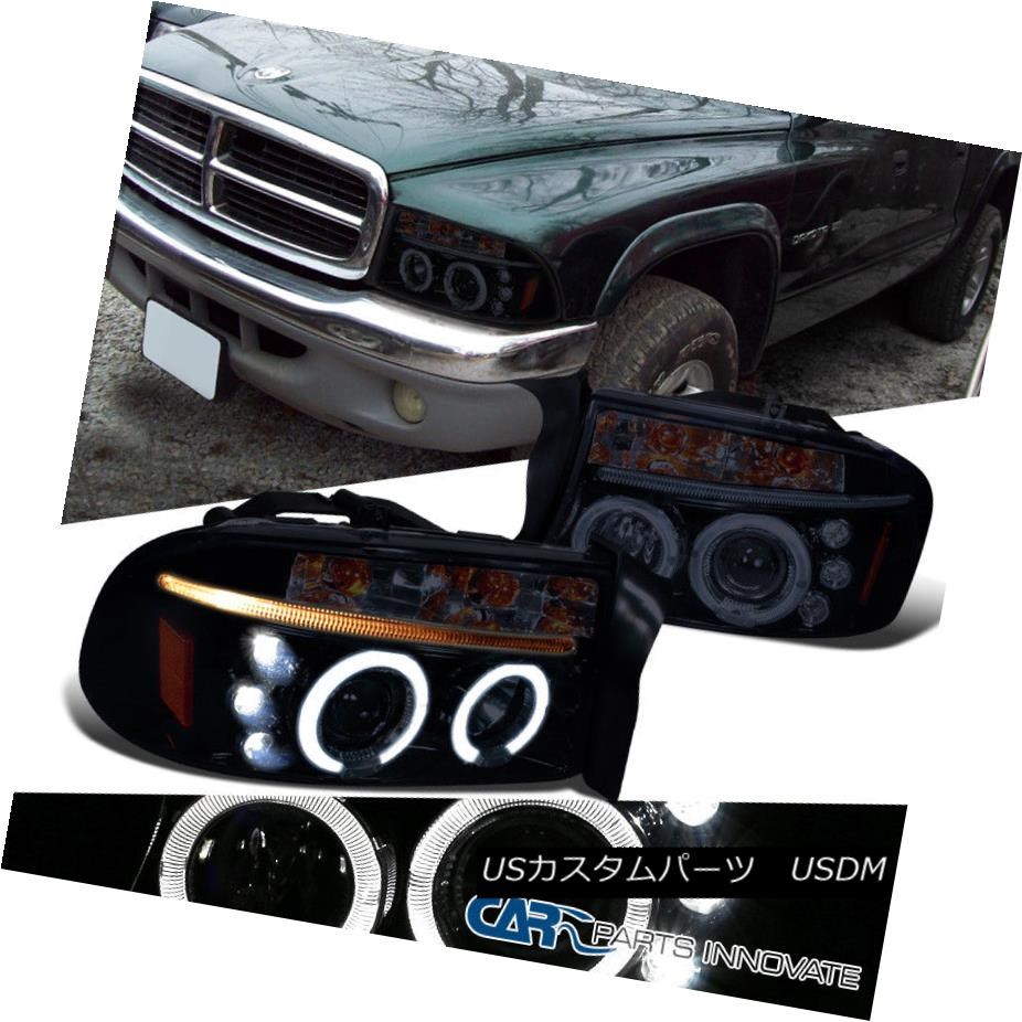 ヘッドライト Dodge 98-03 Durango 97-03 Dakota Glossy Black LED Halo Projector Headlights Lamp ドッジ98-03 Durango 97-03 Dakota GlossyブラックLEDハロープロジェクターヘッドライトランプ